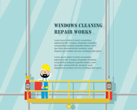 Cleaning the windows of a skyscraper. Carrying out repair work at height. Vector illustration