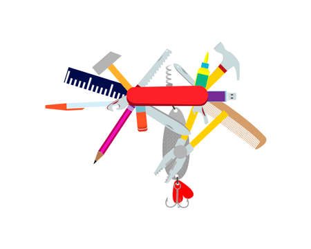 Multifunctional pocket folding tool. Parody. Vector illustration Ilustração