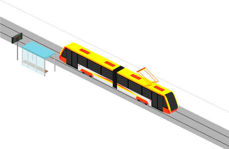 The movement of a modern tram. Stop and route schedule. Isometry Vector illustration on a white background