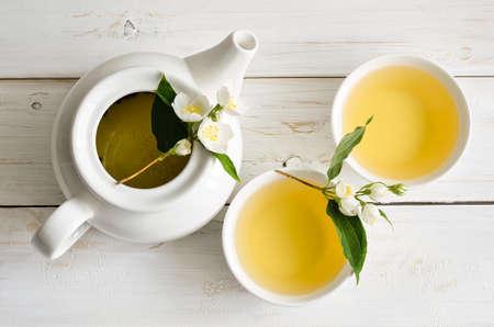 Tea with jasmine flowers