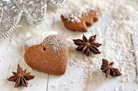 xmas background: Gingerbread Xmas heart background
