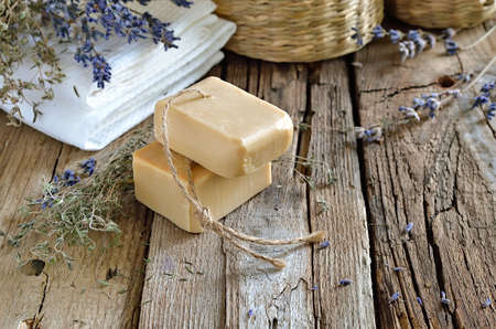 Spa bath set with handmade herbal soap