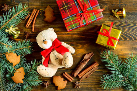 Traditional christmas background with gifts and toys photo