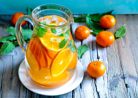 infused: Tangerine and mint homemade lemonade Stock Photo