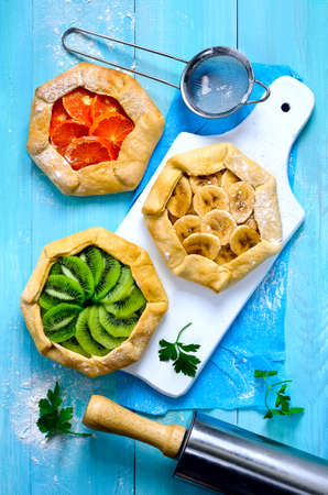 galettes: Assorted open-faced simple rustic pies or galettes with fresh fruits