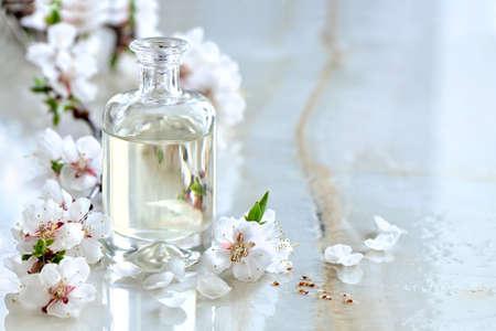 春の花咲く枝、本質理解油の特別な式で飾られたスパ マッサージ オイル高級・高級商品 写真素材