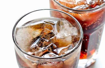 coke: Iced diet cola without sugar in two glasses