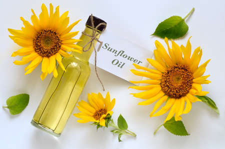 girasol: Sunflower oil in a glass bottle decorated with fresh sunflowers on a light background, top view Foto de archivo