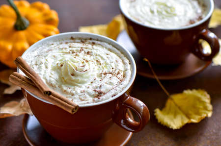 drinks: Pumpkin spice latte, traditional autumn warm cozy drink