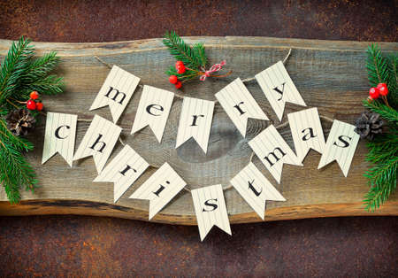 christmas garland: Rustic Christmas background with greeting text banner garland