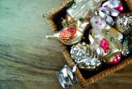 ボックス、平面図、定型化された写真のビンテージのクリスマスの装飾 写真素材