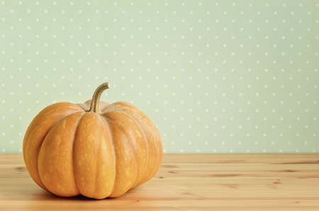 Pumpkin on a table, retro stylized photo