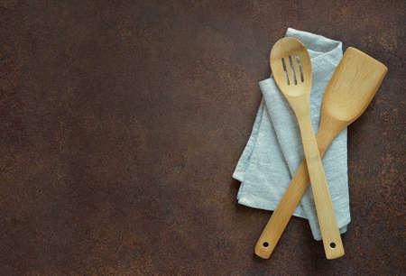 utencils: Culinary background with utencils on a napkin