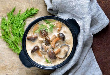 Mushroom sour cream sauce, top view