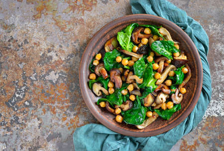 Spinach, chickpea and mushroom  warm salad, view from above