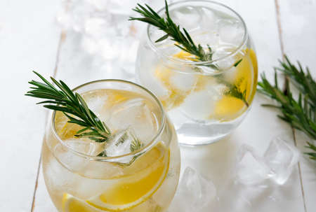 fizz: Lemon and rosemary refreshing alcoholic drink, soda or fizz
