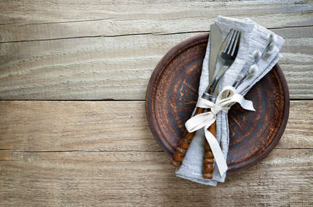 cutleries: Spring season rustic tableware setting