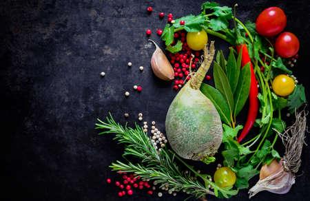 Diverse groenten culinaire achtergrond