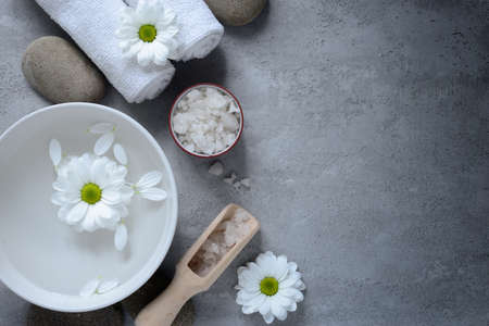 Spa concept background with sea salt, stylized photo Stock Photo