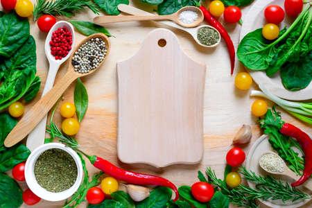 kulinarne: Culinary background woth cutting board