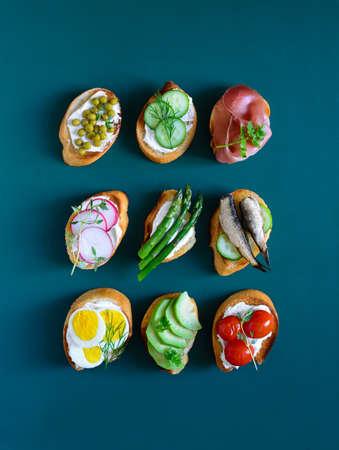 kulinarne: Culinary background with canapes, culinary concept Zdjęcie Seryjne
