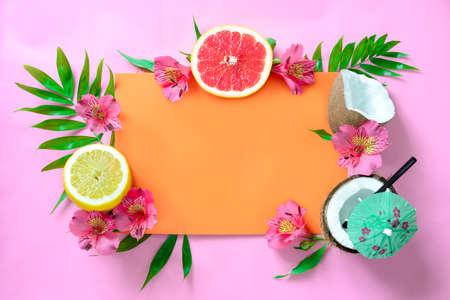 Tropical background, beach wedding invitation card or summer banner