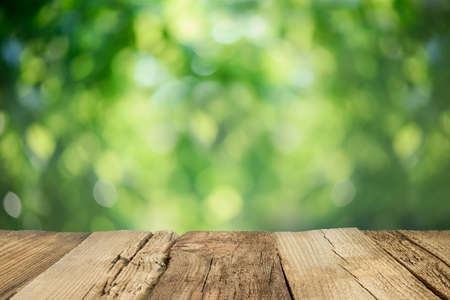 Rustic weathered table top infront of blurred garden background