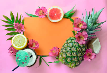 romantic beach: Tropical fruits background with pineapple, beach wedding invitation card or summer banner Stock Photo