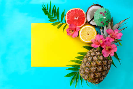 hawaiian flower: Tropical fruits background with pineapple, beach wedding invitation card or summer banner Stock Photo