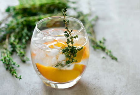 water thyme: Peaches and thyme cocktail or lemonade or infused water
