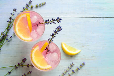 Lavender lemonade, view from above