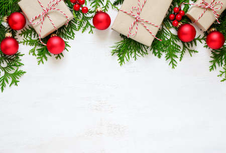 christmas or new year background plain composition made of xmas decorations and fir branches