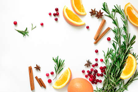 Winter warmer drink recipe concept, punch or mulled wine or Xmas party cocktail ingredients, blank space for a text, flat lay, view from above 写真素材