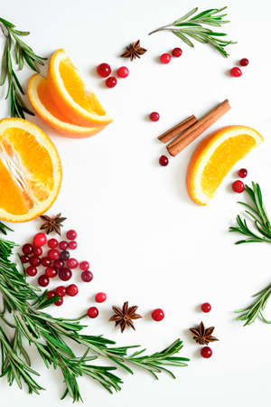 warmer: Winter warmer drink recipe concept, punch or mulled wine or Xmas party cocktail ingredients, blank space for a text, flat lay, view from above Stock Photo