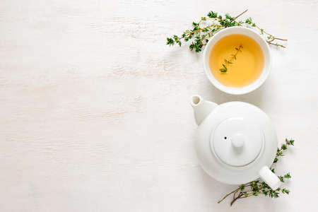 Thyme herbal tea, view from  above, space for a text