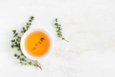 Thyme herbal tea, view from high angle, space for a text