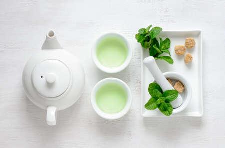 Fresh mint tea concept, top view