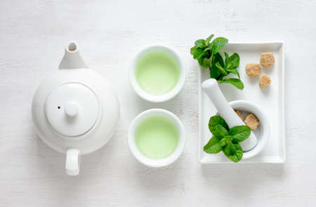 Fresh mint tea concept, top view