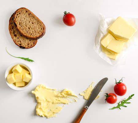 Butter, spread or margarine product background with a space for a text, flat lay, view from above Stock Photo