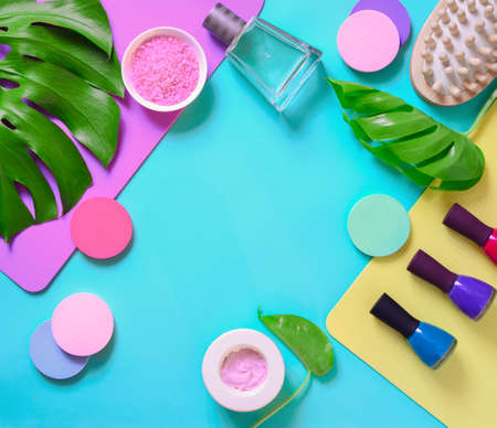 Hands and nails cosmetics and care fashion conceptual background, flat lay arrangement, view from above composition with a space for a text