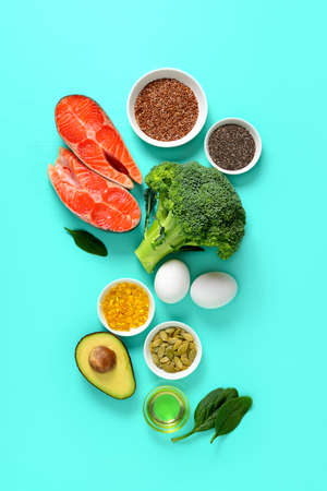 Healthy food products which are rich source of Omega3 fats, healthy eating concept, view from above 版權商用圖片