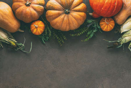 Autumnal rustic pumpkin background with copy space for a greeting text