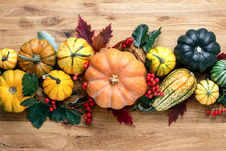 Thanksgiving country style natural decoration idea, overhead view on wooden table decorated with pumpkins and autumn natural decor