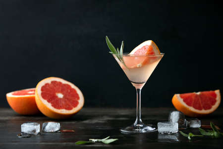 Sage and pink grapefruit blush gimlet, front view, blank space for a text