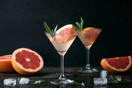 Sage and pink grapefruit blush gimlet, front view