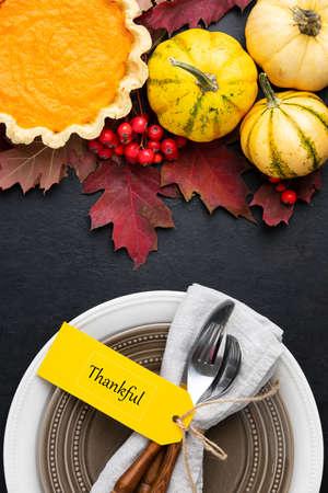Thanksgiving table setting concept,  festive dinner invitation or flyer