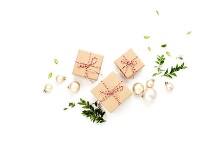 Christmas or New Year concept with gift boxes and Christmas tree decorations