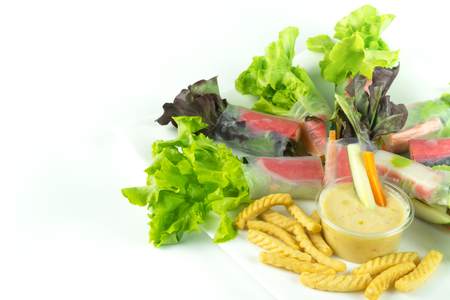 care about the health: A mixture of many foods Ideal for weight control And health care Can be applied to articles about health and diet.