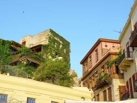 kreta: traditional old houses at the venetian port of hania kreta