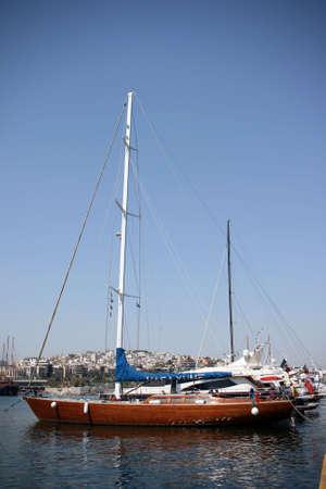 luxurius wooden sailing yacht at marina photo
